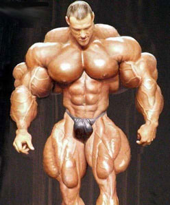 No this is not a real bodybuilder. It has been photoshopped.